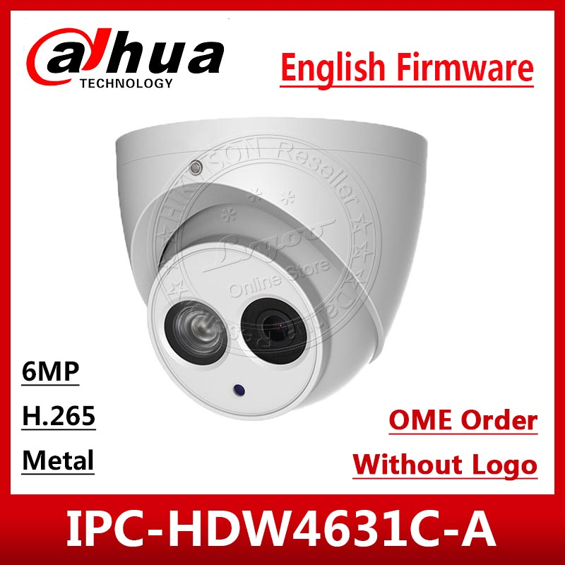 Dahua IPC-HDW4631C-A HD 6MP POE Built-in MIC metal IR30m IP67 Network Dome Camera Multi-Language OEM Orders With logo Brown box