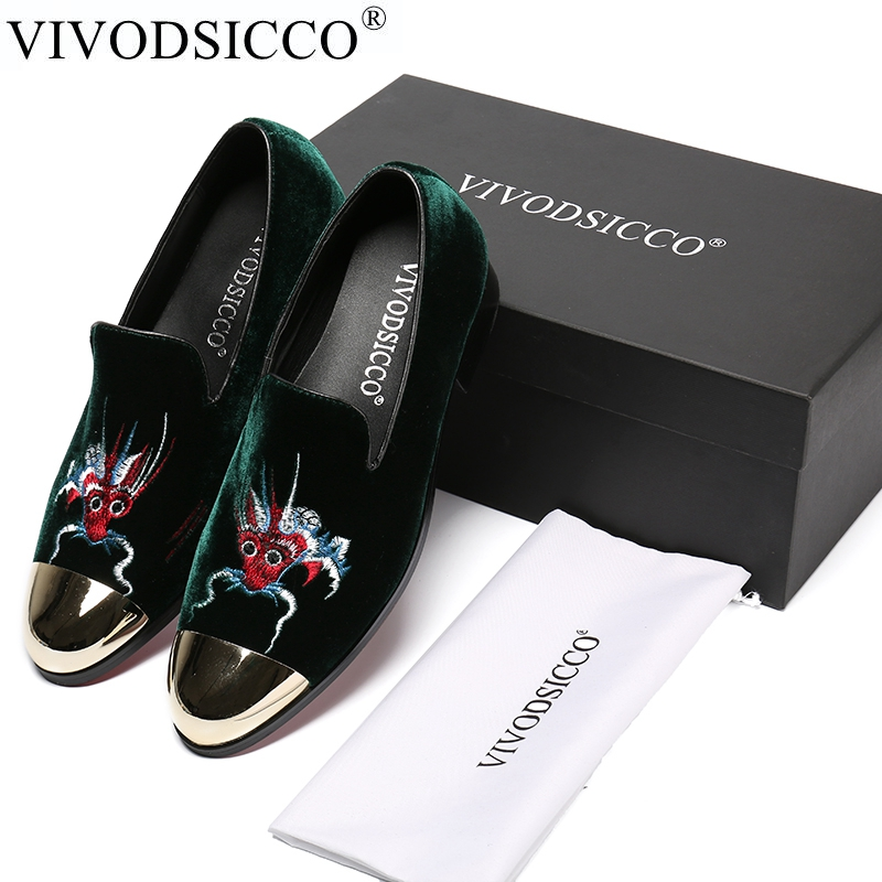 VIVODSICCO Green Velvet Slippers Men Loafers Velours Smoking Slip-on Shoes Party and Wedding Dress Shoes Men's Flats Metal toes wedding shoes mens slip on dress shoes green velvet slippers fashion loafers custom shoes handmade free shipping size 7 14
