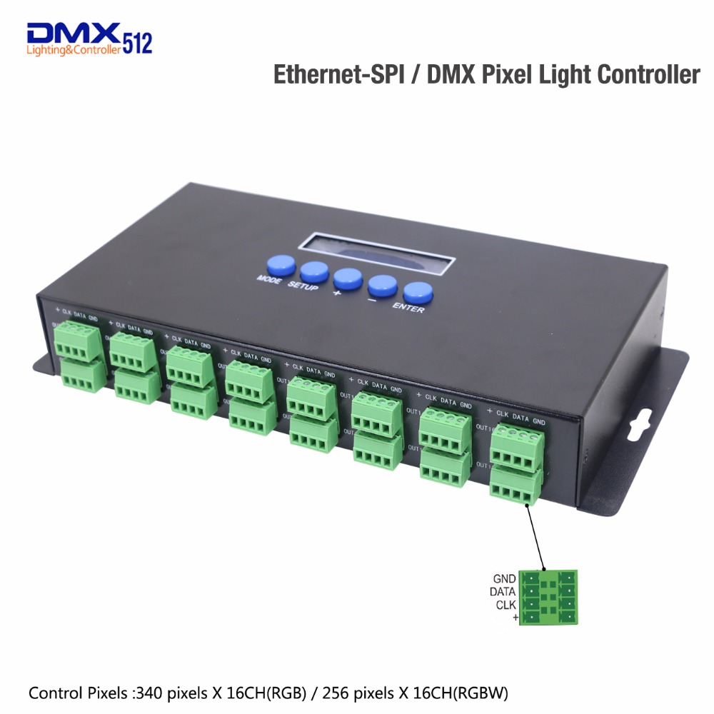 DHL/Fedex Ethernet To SPI And DMX Pixel Light controller 340 pixels*16CH and Output DMX512 two ports k 8000g sd card led pixel controller off line spi signal output controlling 8192 pixels can choose ic type by using the button