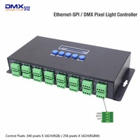 DHL/Fedex Ethernet To SPI And DMX Pixel Light controller 340 pixels*16CH and Output DMX512 two ports