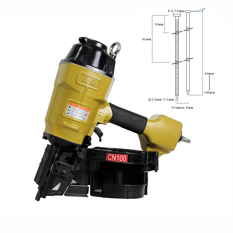 top quality meite cn100 industrial heavy duty pneumatic air coil nailer for 65mm 100mm