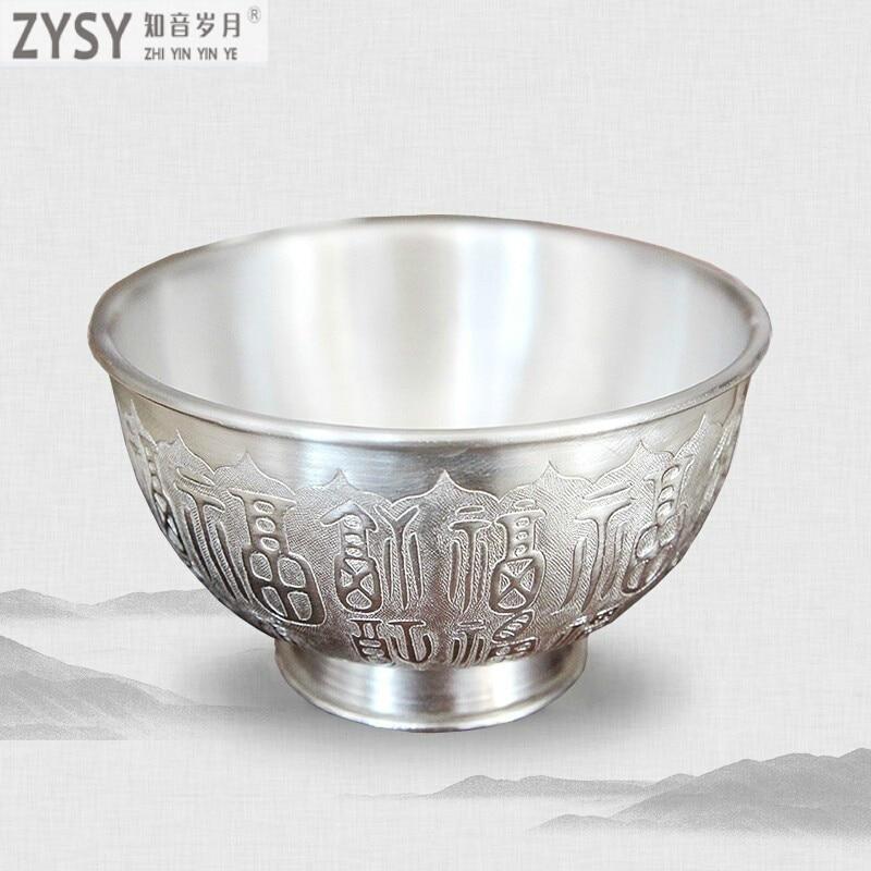 Silver bowl 999 sterling silver double-layer engraving Baifu handmade