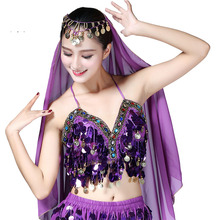 425ff64196 Twinkling Sequined Belly Dance Bra Crop Top Beaded Fringe Dancing Underwear Costume  India bollywood Sexy Shinny