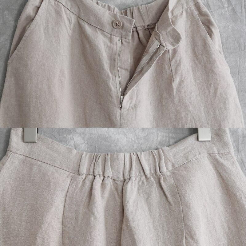 Tout Grand Été blanc N133 Humeur Thés Code Neuvième Jambe Bouddhiste Occasionnel Large Pantalon Lâche Beige Gray Lin allumette Femelle Concis OOqIr