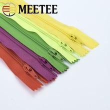Meetee 10pcs 20cm 3# Multicolor Nylon Coil Zippers for Sewing Tools Garment DIY Wallet Pocket Decoration Zip Bag Accessories