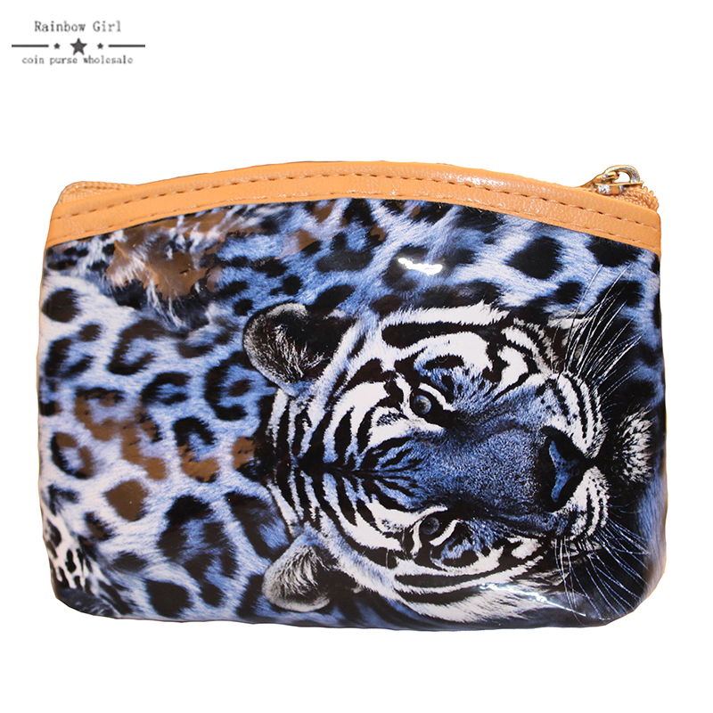 2017 New Patent Leather Sexy Leopard Women Girls Coin Purses Holders Zipper Money Bag Pouch Kids Small Wallets Coin Bank Case