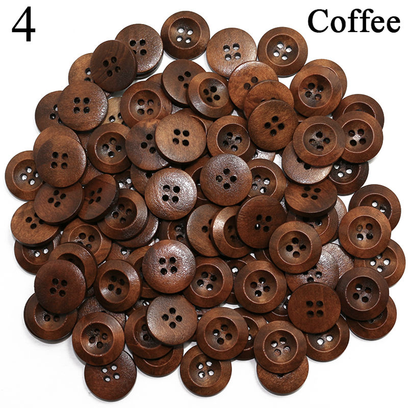 50Pcs 15mm Coffee Round Resin Buttons 4-Holes  DIY Craft Sewing Scrapbooking