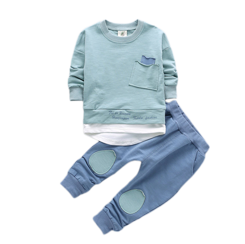 Baby Boys Clothing Sets 2018 New Arrival Sweatshirts Sets Spring Autumn Children Tracksuit Sets Blue Coffee Pink 12M-7Y CS51