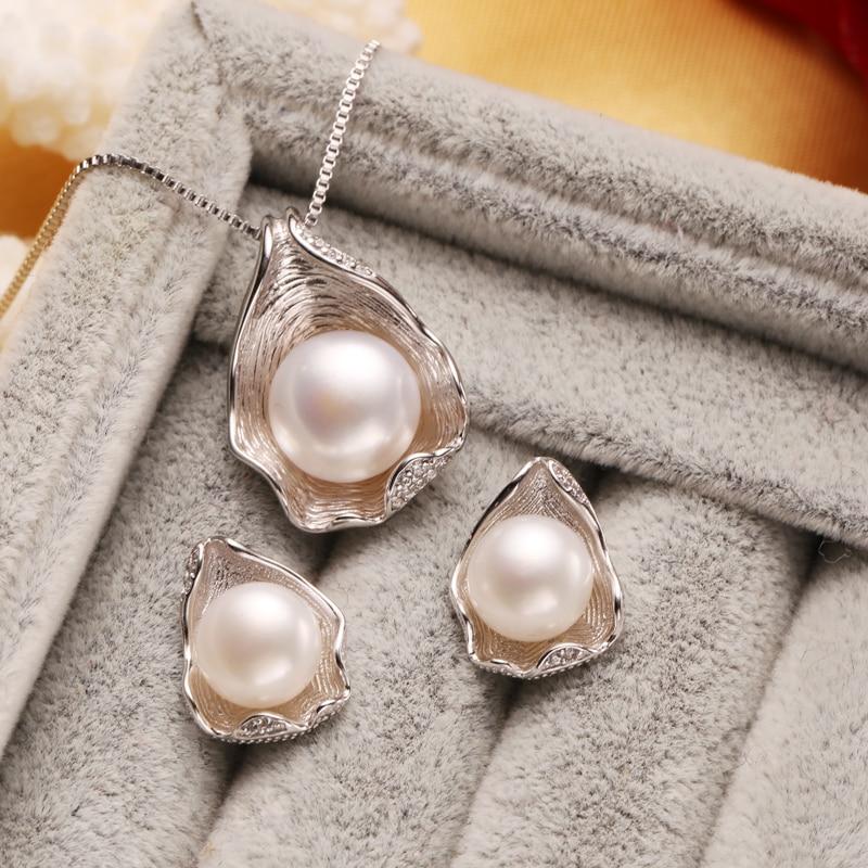 FENASY s925 Sterling sølv Ferskvann perle smykker sett for kvinner - Fine smykker - Bilde 2