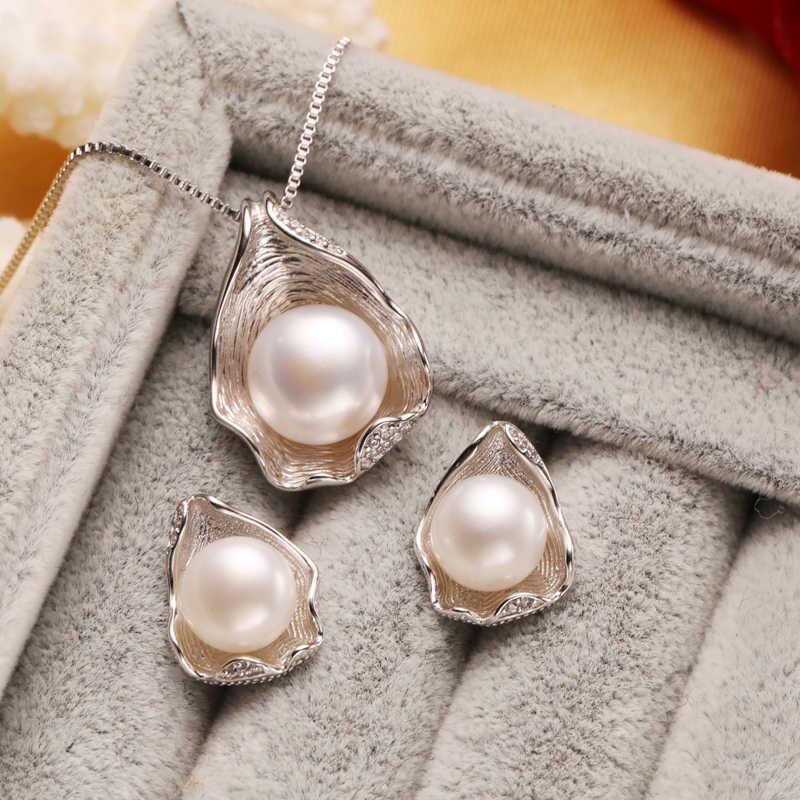 FENASY s925 стерлингов серебрный пресноводный жемчуг комплекты украшений для женщин вечерние жемчуг Цепочки и ожерелья/серьги/кольца Shell дизайн набор ювелирных украшений