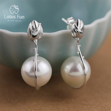 Lotus Fun Real 925 Sterling Silver Natural Handmade Fine Jewelry Lotus Flower Mother of Pearl Dangle Earrings for Women Brincos