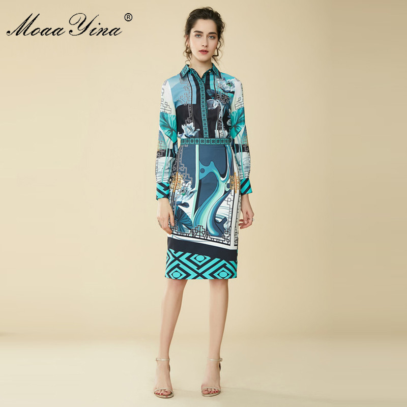 MoaaYina Fashion Designer Chinese Style Set Summer Women Long sleeve Lotus Floral Print Casual Shirt Package
