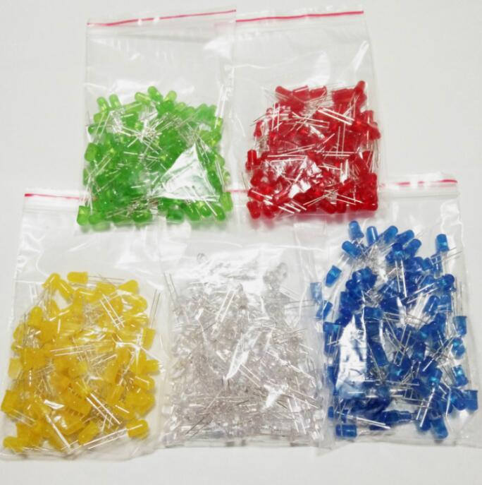 500pcs/lot 5MM LED Diode Light Assorted Kit DIY LEDs Set White Yellow Red Green Blue