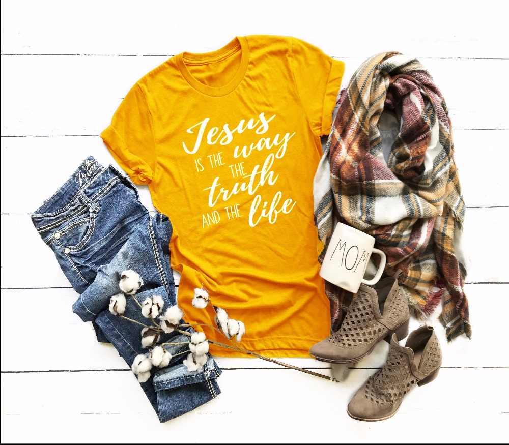 イエスは真実方法寿命 Tシャツクリスチャンスローガンクロスグラフィック宗教信者シャツ美的スローガン黄色 Tシャツ