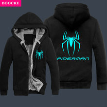 BOOCRE New Winter Spiderman Luminous Sweatshirt Men Thicken Hoodie Reflective Coat Mens Fleece Zipper Hoody Size S-3XL