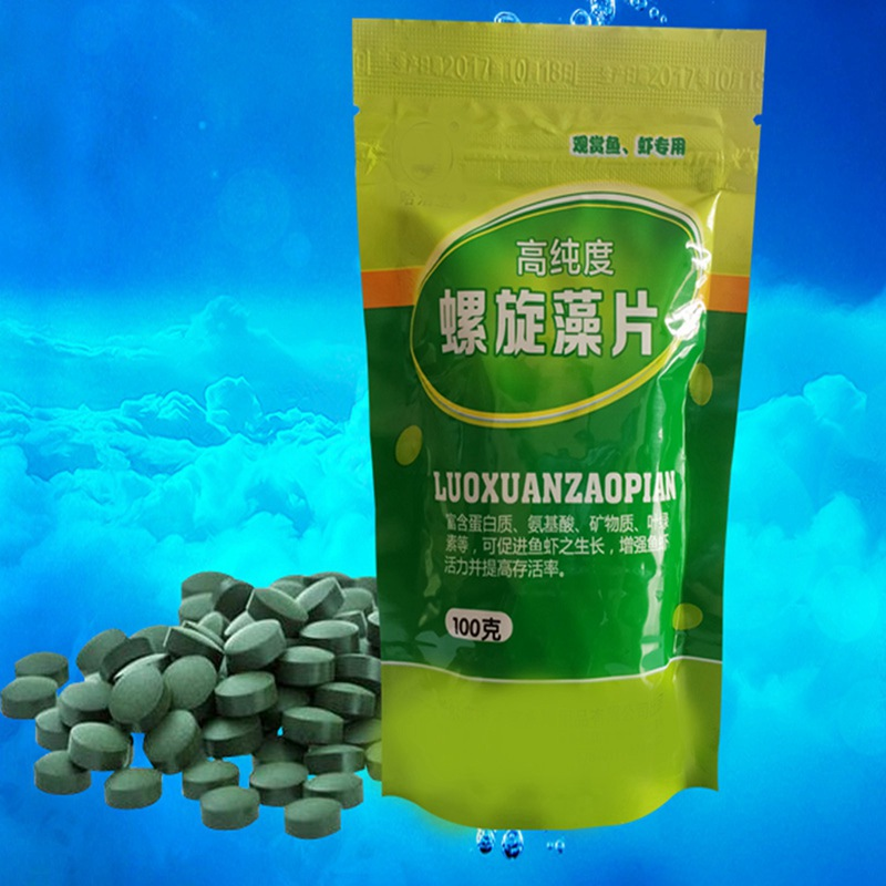 100/50g Ornamental Fish Piece-shaped Forages Healthy Ocean Nutrition Fish Food for Tropical Fish Spirulina Flakes image