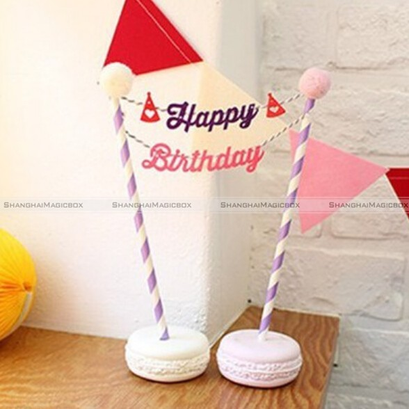 Happy Birthday Cake Cupcake Bunting Banner Flag FoodTopper baby shower Party1Set