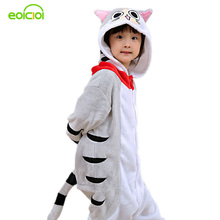 Купить с кэшбэком EOICIOI New Hooded Children Pajamas Winter Flannel Cartoon Cat   Kids Boys Girls Pijamas Baby Cosplay Pyjamas Sleepwear Onesies