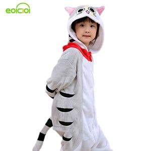 Image 1 - kigurumi New Hooded Children Pajamas Winter Flannel Cartoon Cat   Kids Boys Girls Pijamas Baby Cosplay Pyjamas Sleepwear Onesies