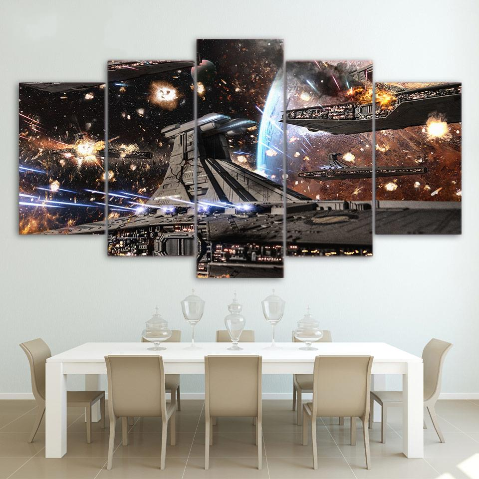 Printed HD Paintings Modular Posters Home Decor Modern 5 Panel Printed Star Wars Movie SpaceshipWall Art Canvas Picture image