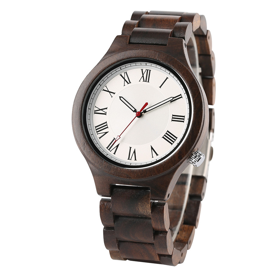Men Watches Nature Ebony/Bamboo Wooden Business Style Quartz Wrist Watch Man Wood Band Simple Roman Numerals Dial Clock Men Gift simple handmade wooden nature wood bamboo wrist watch men women silicone band rubber strap vertical stripes quartz casual gift page 8