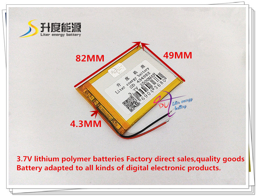 3,7 V 2500 Mah 434982 Polymer Lithium-ion/li-ion Batterie Für Tablet Pc Gps Power Bank Vr Ar Dvr Mp4 Tablet-akkus & Backup-stromversorgung