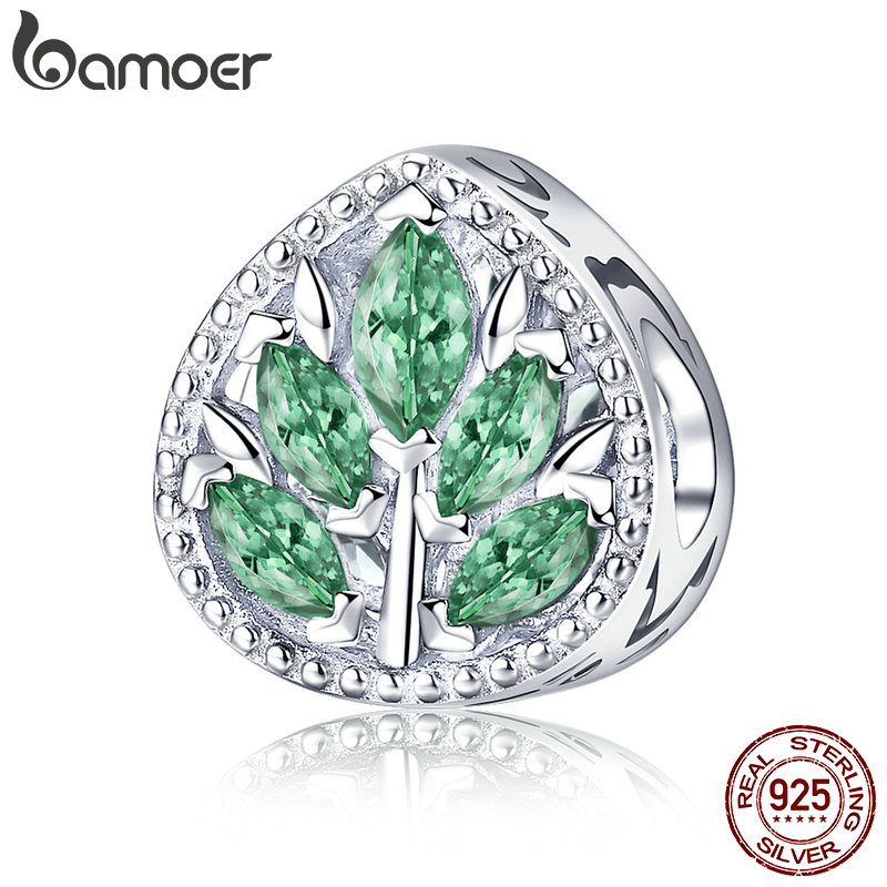 BAMOER Genuine 100% 925 Sterling Silver Tree Leaves Green CZ Charm Beads fit Women Charm Bracelets DIY Jewelry Making BSC005
