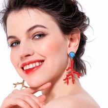 BOB IGIULAI Brand Vintage Creative Drop Earrings Women Faux Coral Pendant Long Earrings Charm Alloy Enamel Earrings Jewelry