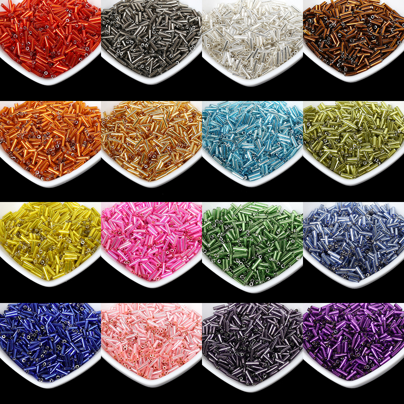 1000pcs/lot Multi Color Silver Lined Bugle Czech Glass Seed Spacer Beads  Austria Crystal Long Tube Beads For Jewelry Making DIY|Garment Beads|   - AliExpress