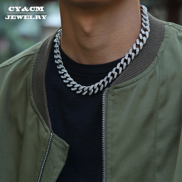 13mm Hip Hop Miami Curb Cuban Chain Necklace Golden Iced Out Rhinestones CZ Bling Rapper Link Silver Color Necklaces Men Jewelry