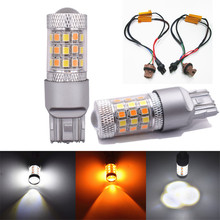 цена на 2 Pieces 7443 42SMD 2835 LED Bulbs Turn Signal light Switchback White/Amber Error-Free Turn Signal Bulbs