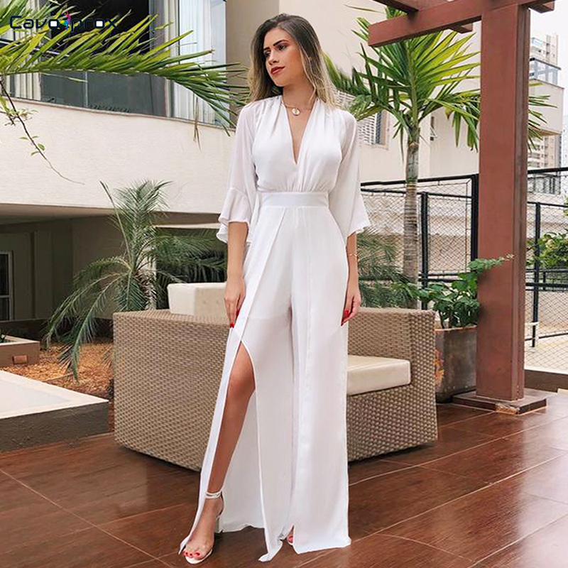 Women Deep V-neck Chiffon High Slit Wide Leg   Jumpsuit   Casual Solid Flare Sleeve Sexy Backless Summer Plus Size   Jumpsuits