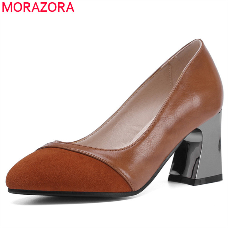 MORAZORA 2019 new arrival women pumps genuine leather +pu high heels ladies shallow round toe spring summer dress shoes woman MORAZORA 2019 new arrival women pumps genuine leather +pu high heels ladies shallow round toe spring summer dress shoes woman