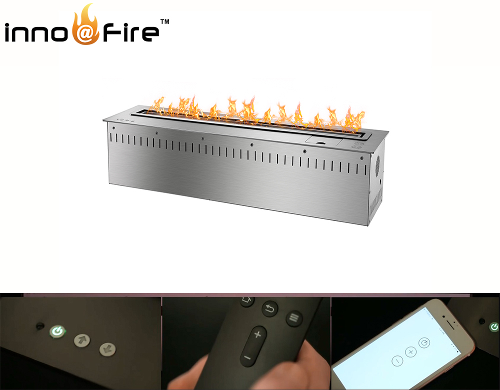 On Sale 36 Inch Chimney Bioetanol With Wifi Contact Steel Fireplaces