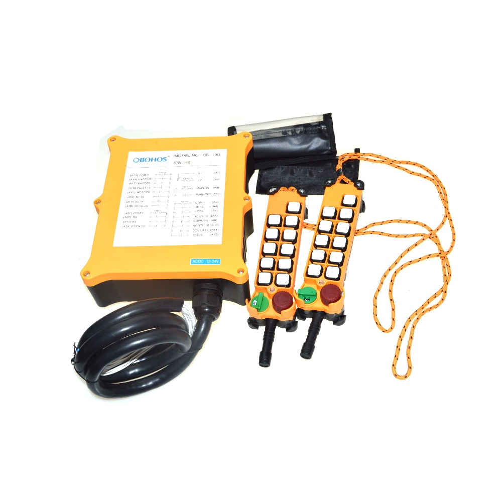 OBOHOS 10 Channels 2 Speed 2 Transmitter Hoist Crane Truck Radio Remote Control System with E-Stop XH00125