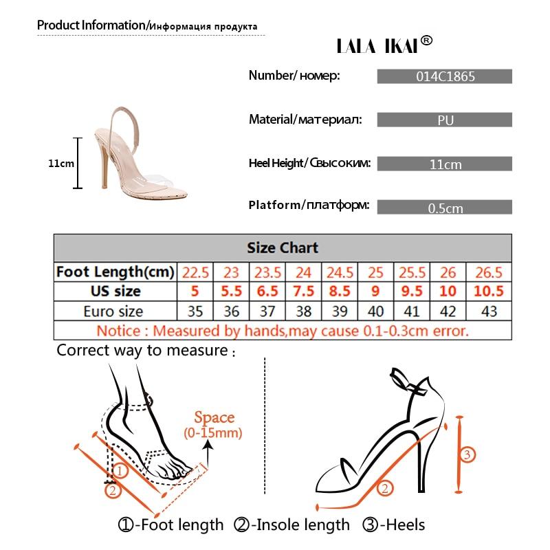 US $22.86 51% OFF|LALA IKAI Transparente High Heels Frau Vinyl Street Punk PVC Nieten Sommer Sandalen Frauen Schuhe 014C1865 49 in Hohe Absätze aus