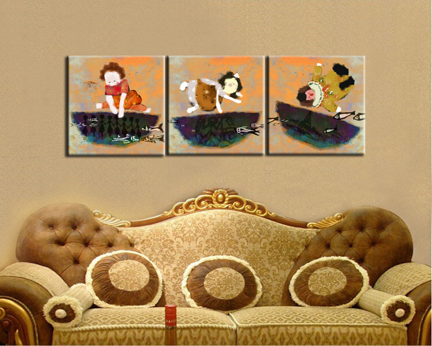 free shipping Happiness boys and girls impression figure canvas ...