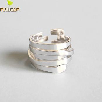Форзаце INS стиль простой многослойный обмотки Открытые Кольца для женщин 2018 новый тренд 925 пробы 100% серебро модные украшения