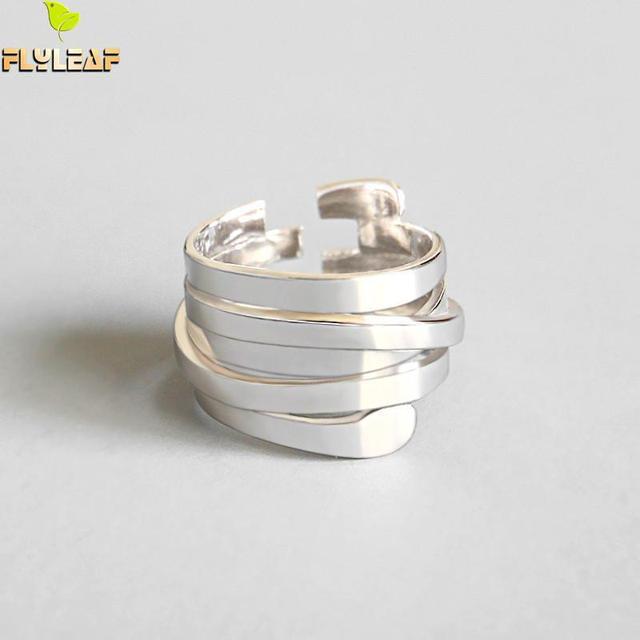 Форзаце INS стиль простой мульти-Рядовая обмотка Открытые Кольца для женщин 2018 новый тренд 100% Серебро 925 пробы модные украшения