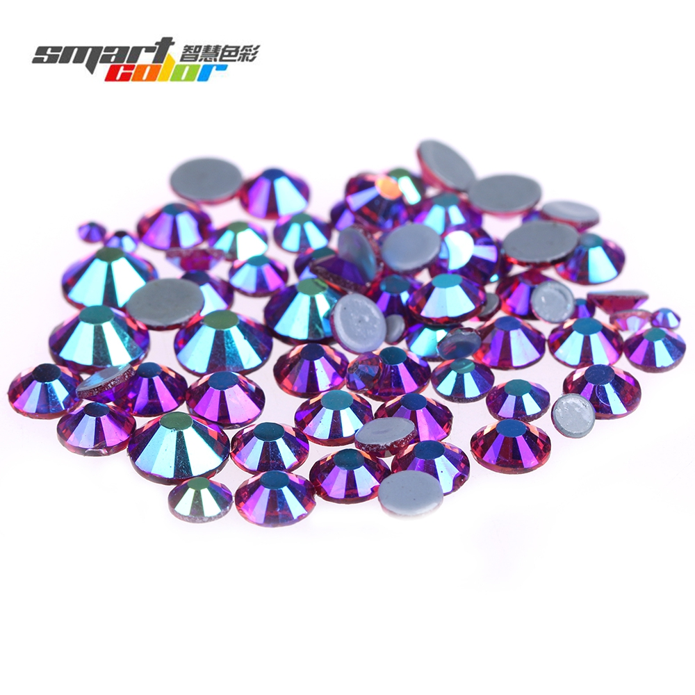 Fushia AB Color Strass Rhinestones Flatback Round Glass Iron On Crystal Diamonds For Garment Nail Art DIY Decorations ss3 ss30 jet black ab nail art rhinestones with round flatback for nails art cell phone and wedding decorations