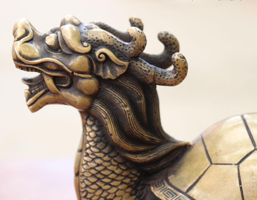 Chine FengShui Bronze cuivre richesse argent YuanBao Dragon tortue Statue - 3