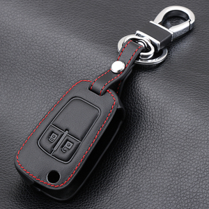 2 Button Leather Car Remote Key Fob Shell Cover Case For Opel Astra J Corsa D Zafira C Mokka Insignia Cascada Karl Adam Meriva(China)