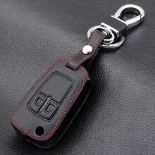 Funda de cuero con control remoto de coche con 2 botones, funda para Opel Astra J Corsa D Zafira C Mokka, Insignia, Cascada, Carl, Adán, Meriva