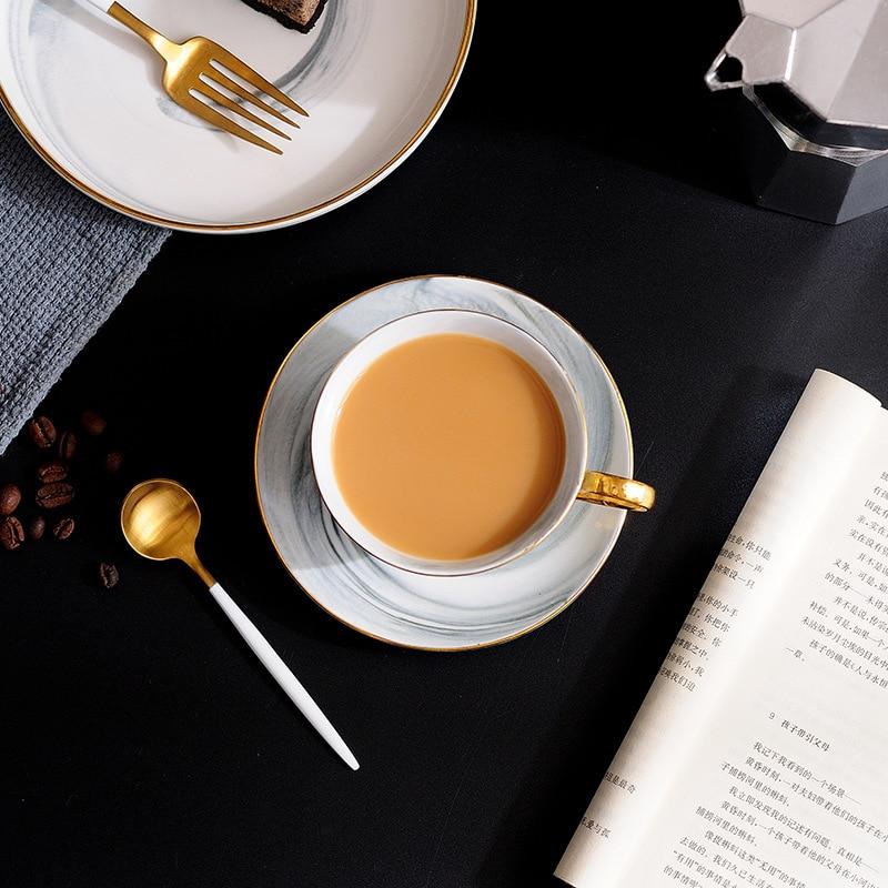 300 мл ручная роспись Высококачественная кофейная чашка блюдце набор Европейский стиль мрамор Пномпень керамическая чашка для послеобеденн...