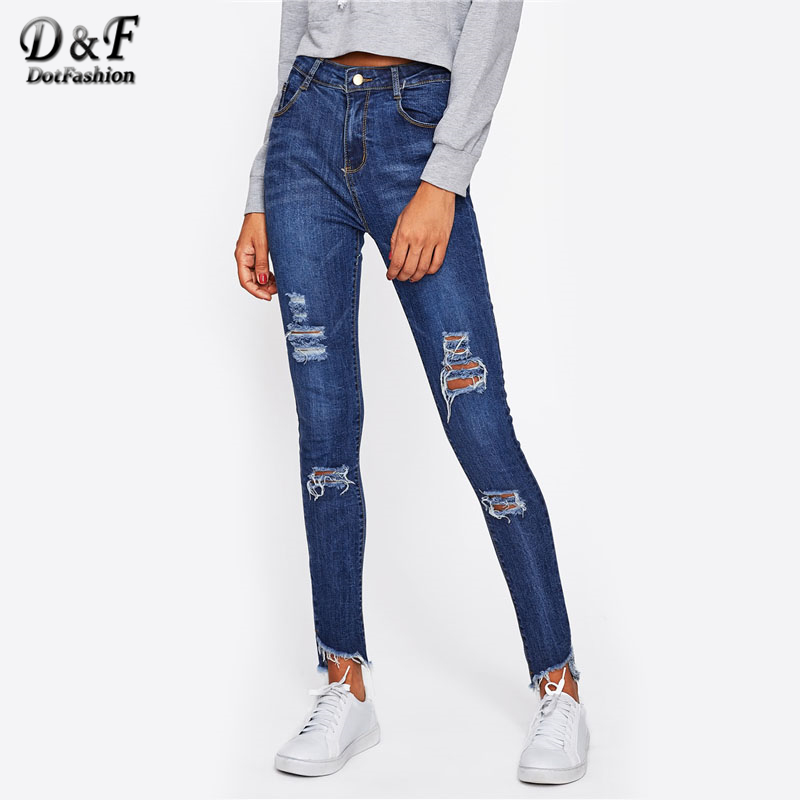 Dotfashion Frayed Hem Ripped Jeans Navy Woman Pocket Mid Waist Long Trousers 2017 Woman Autumn Button Fly Skinny Pants