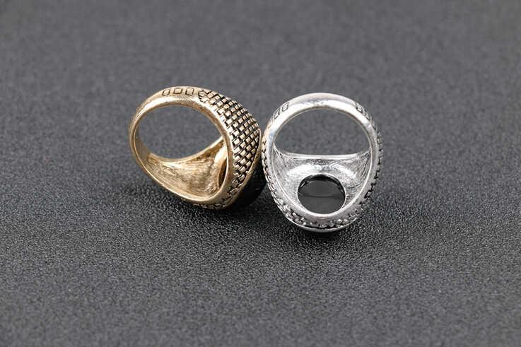 ผู้ชายผู้หญิงแหวน Antique Big Vintage แหวนผู้หญิงสีแดงสีดำหินเครื่องประดับแกะสลักแหวนนิล #20037