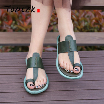 Flat sandals, Fairy style new cool slippers, female leather retro low-heeled slippers