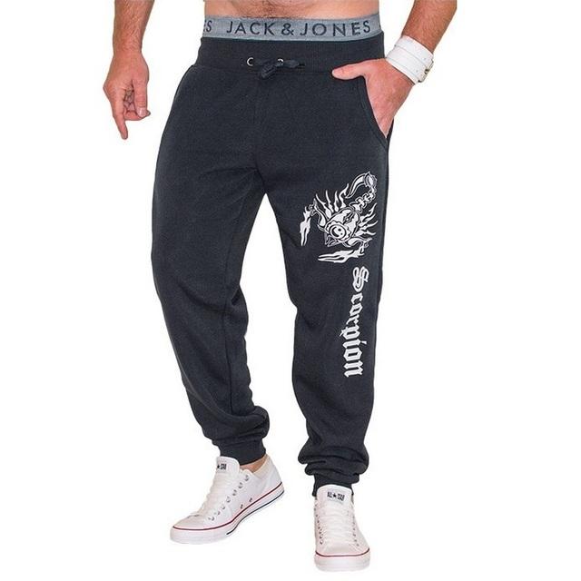 Hombres Moda Cordón Activo Pantalones Sueltos 2016 Nuevo Escorpión Patrón de Impresión de Algodón Pantalones Casuales Hombres Pantalones Largos