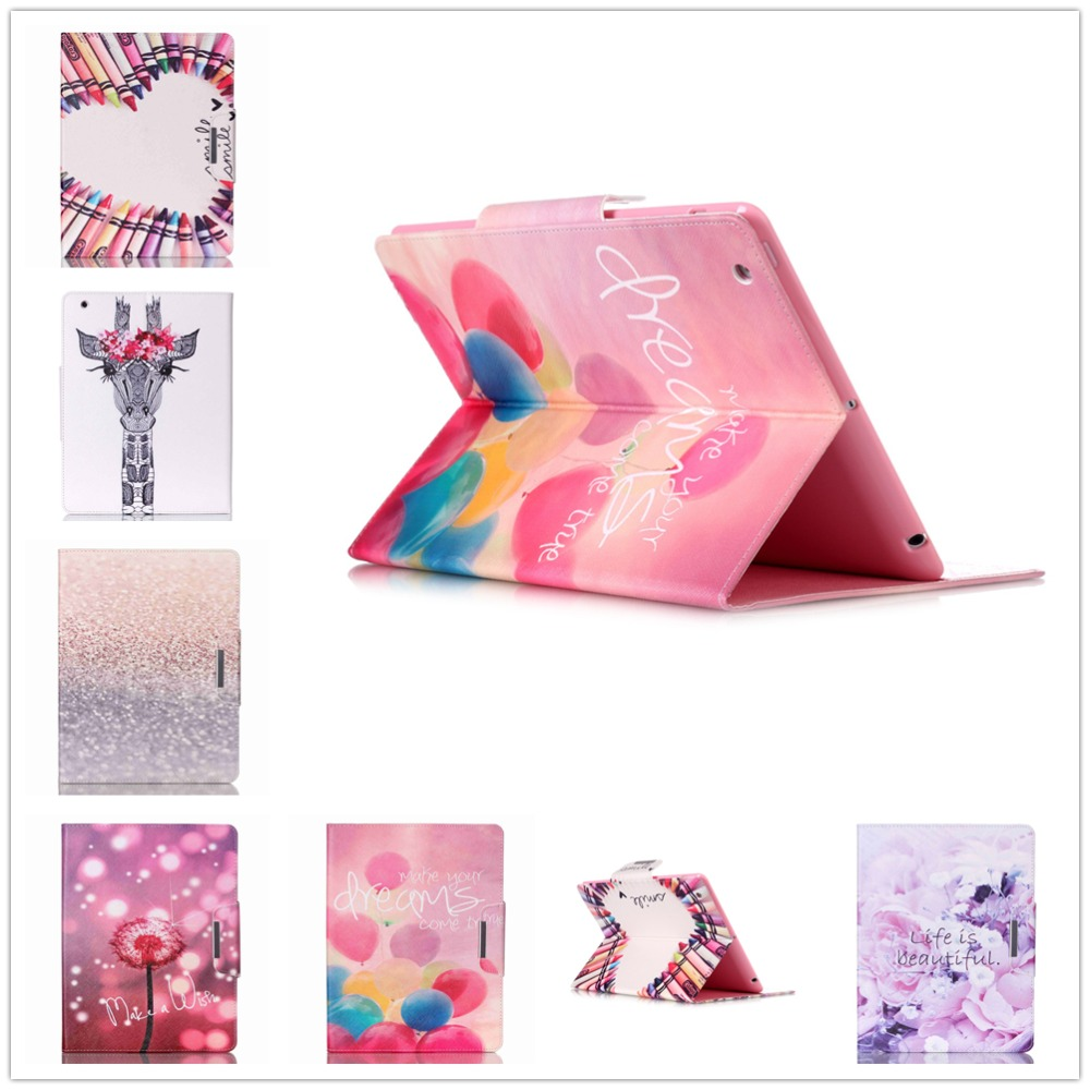 Fashion Dream Balloon Leather Case Smart Book Cover for Apple IPAD4 Ipad 4 9.7 Folding Flip Cover with Card holder FreeShipping
