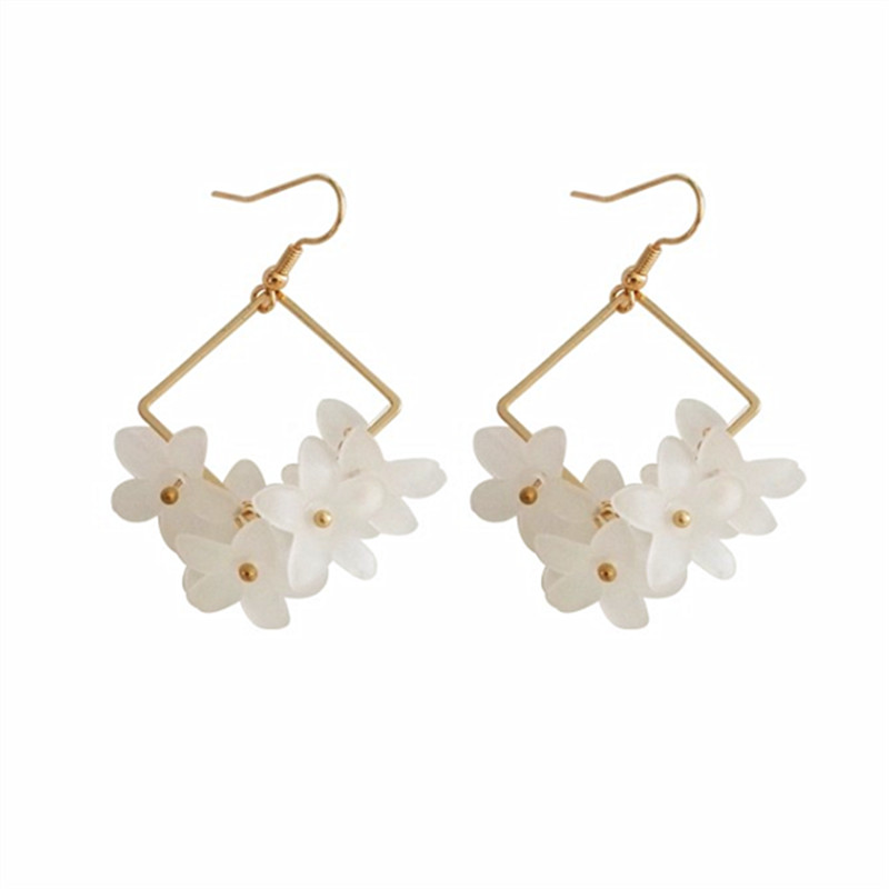 Female temperament frosted flowers geometry earrings contracted and delicate girl is pure fresh earring Pendant